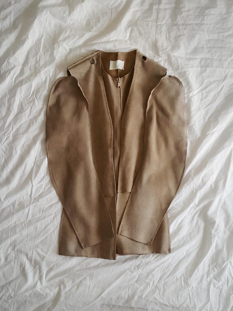 vintage Maison Martin Margiela beige leather flat jacket spring 1998