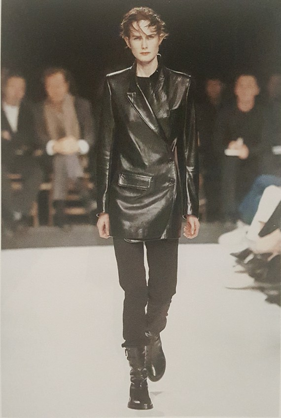 Ann Demeulemeester black leather asymmetric coat — fall 1998