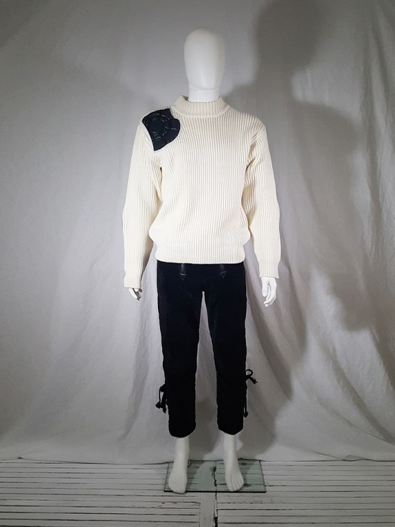 Issey Miyake white jumper with black shoulder and elbow panels
