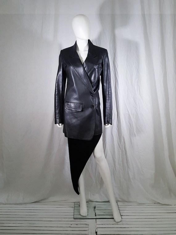 vintage Ann Demeulemeester black leather asymmetric coat fall 1998 133442
