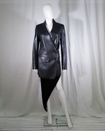 archive Ann Demeulemeester black leather asymmetric coat — fall 1998