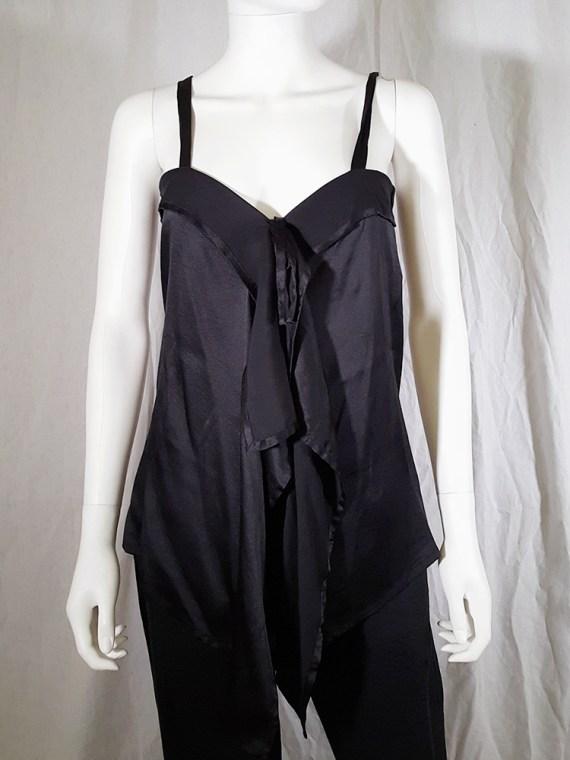 vintage Ann Demeulemeester black tie-front draped top spring 2002 143025