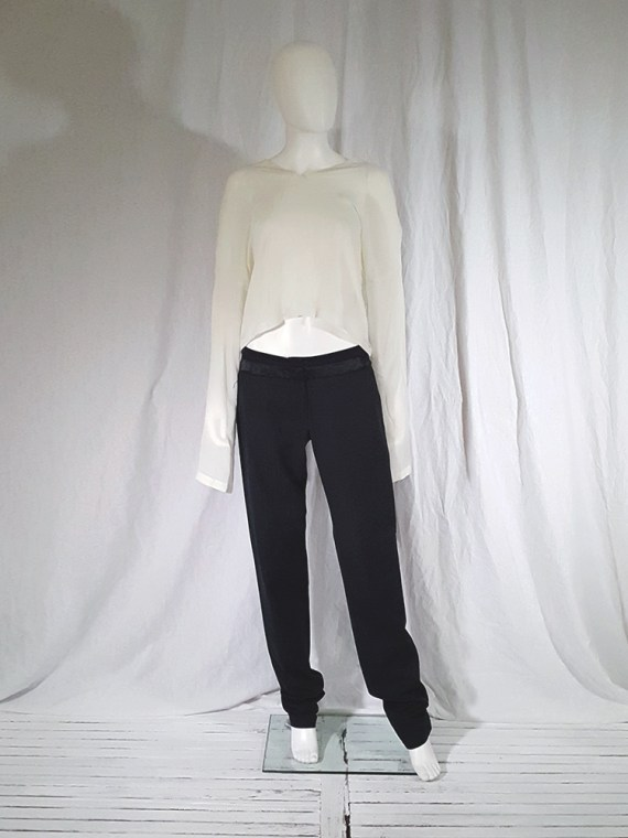 vintage Ann Demeulemeester black trousers with torn waist 142727