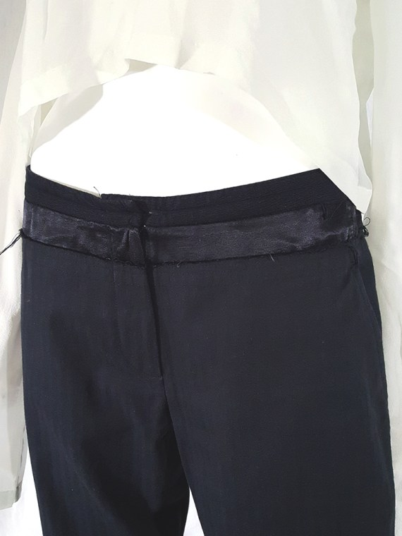 vintage Ann Demeulemeester black trousers with torn waist 142812