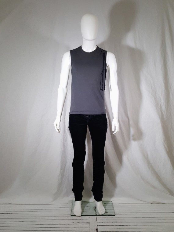 vintage Ann Demeulemeester grey sleeveless t-shirt with beaded quote spring 2000 141121