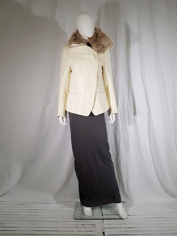 vintage Ann Demeulemeester white asymmetric leather jacket with furry trim 135423