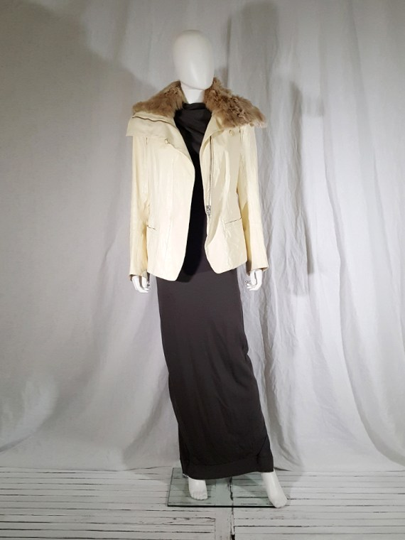 vintage Ann Demeulemeester white asymmetric leather jacket with furry trim 135549
