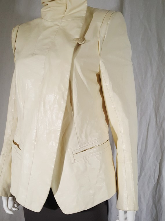 vintage Ann Demeulemeester white asymmetric leather jacket with furry trim 135949(0)