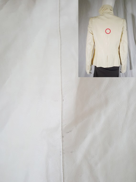 vintage Ann Demeulemeester white asymmetric leather jacket with furry trim 3