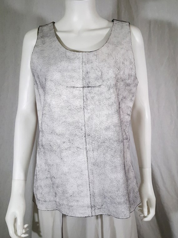 vintage Ann Demeulemeester white cracked leather top runway spring 2002 152536