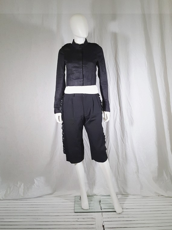 vintage Comme des Garcons black trousers with ruffles back panels fall 2008 134310(0)