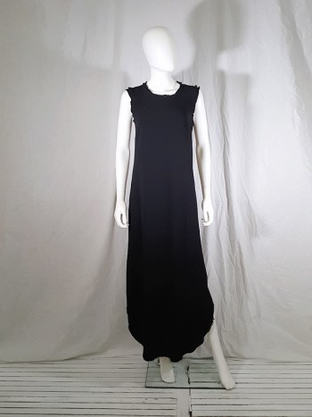 vintage Maison Martin Margiela black sleeveless dress with circular hem — spring 2002