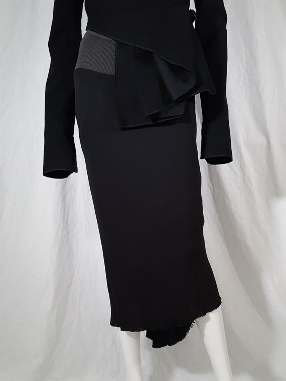 vintage Rick Owens TRUCKER black midi-length mermaid skirt fall 2003 144519