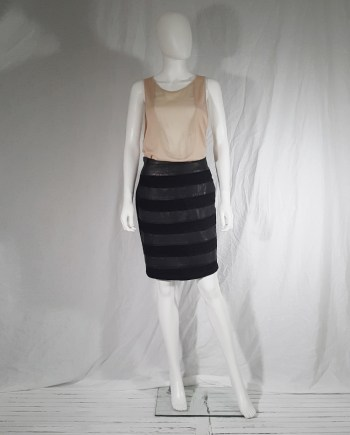 Avelon black skirt with leather stripes