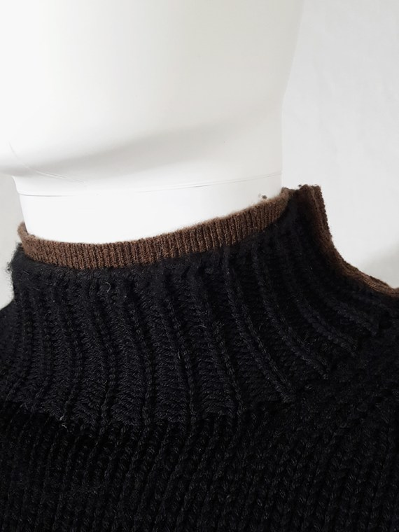 vintage Comme des Garcons Shirt black and brown double layered jumper 145637(0)
