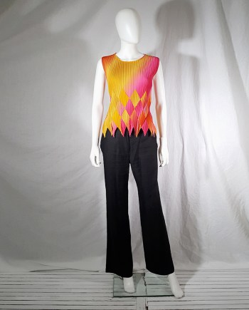 Issey Miyake Fete orange and pink harlequin top