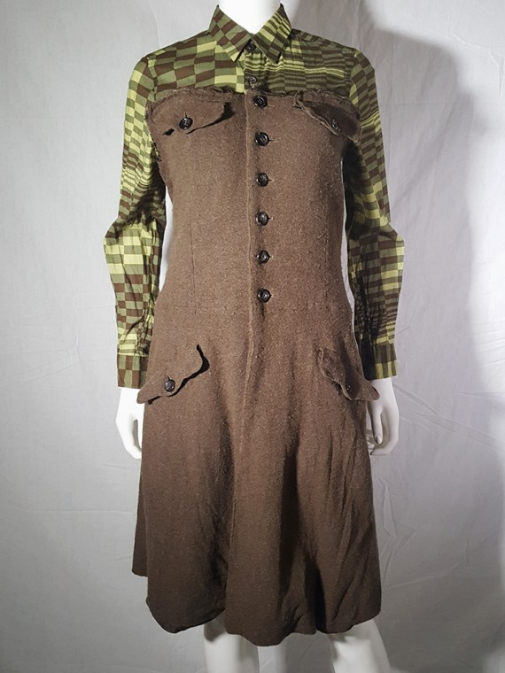 Comme des Garcons brown strapless button up dress — fall 1994