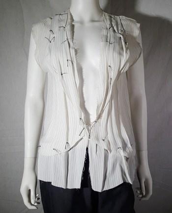 Maison Martin Margiela white pinstripe blouse with gathered lapels — spring 2004