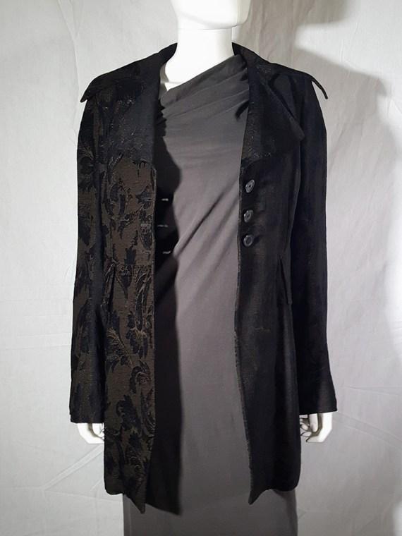 vintage Ann Demeulemeester brown brocade coat fall 1994 160052