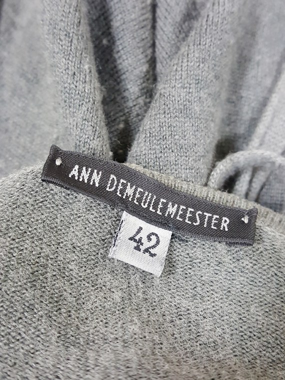 vintage Ann Demeulemeester grey cardigan with back straps 175205