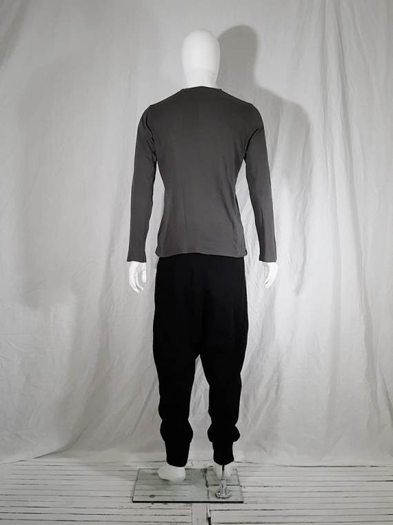 vintage Ann Demeulemeester grey-green longsleeve with front button detail 151940