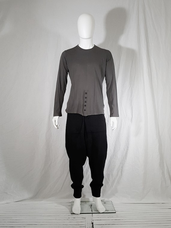 vintage Ann Demeulemeester grey-green longsleeve with front button detail 152050