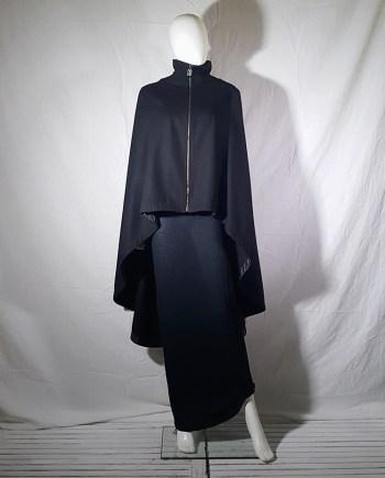 Dirk Bikkembergs black long cape coat