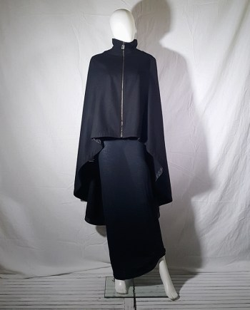 Dirk Bikkembergs black long cape coat