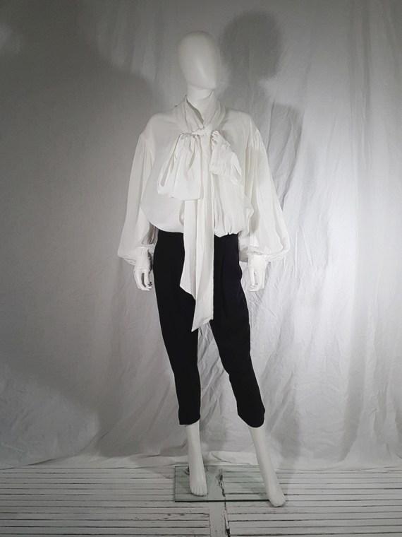 vintage Dries Van Noten white poet blouse with long scarf collar 162417