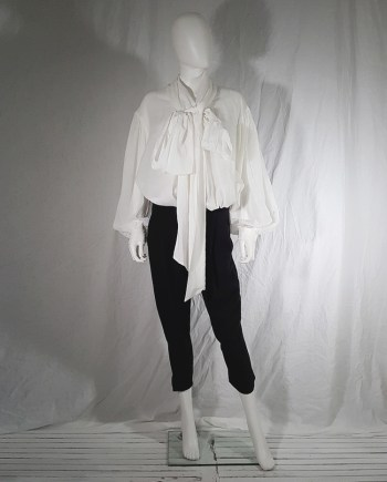 Dries Van Noten white poet blouse with long scarf collar