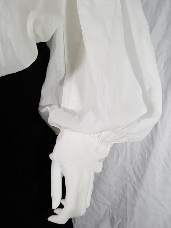 Dries Van Noten white poet blouse with long scarf collar