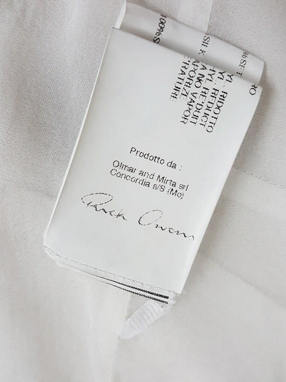Rick Owens NASKA white long gathered top — spring 2012