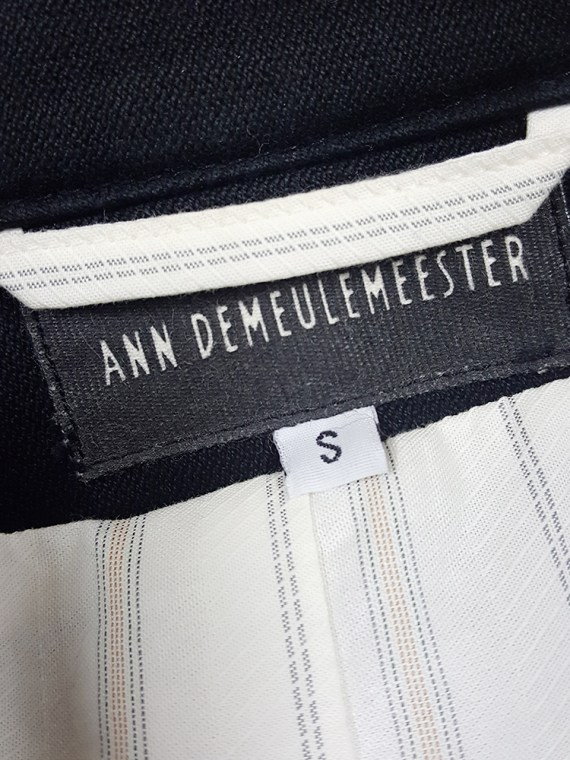 vintage mens Ann Demeulemeester black double breasted military jacket 183655