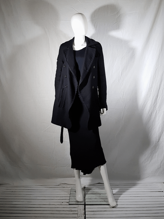 vintage Ann Demeulemeester black double breasted winter coat 161001