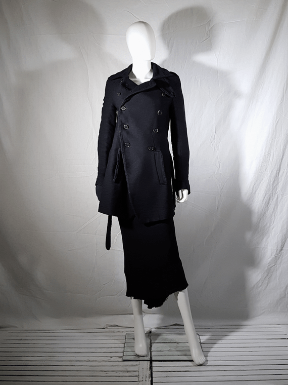 vintage Ann Demeulemeester black double breasted winter coat 161051