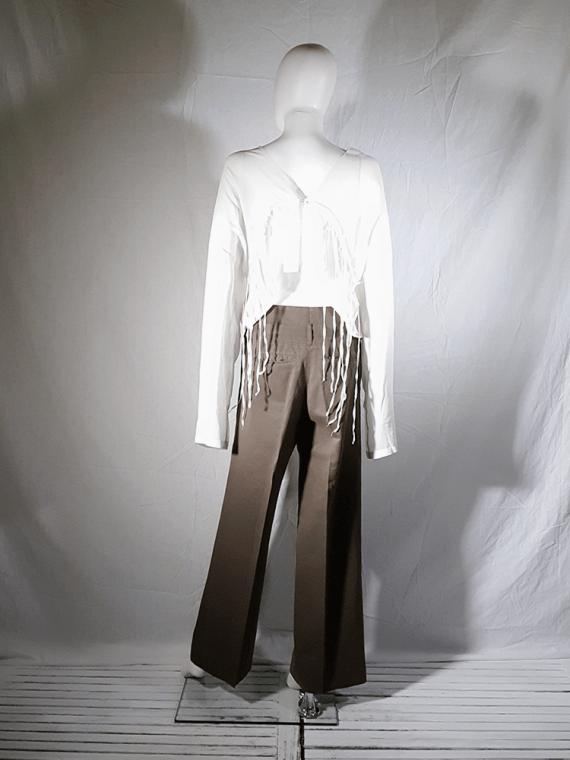 Ann Demeulemeester brown paper trousers with belt strap