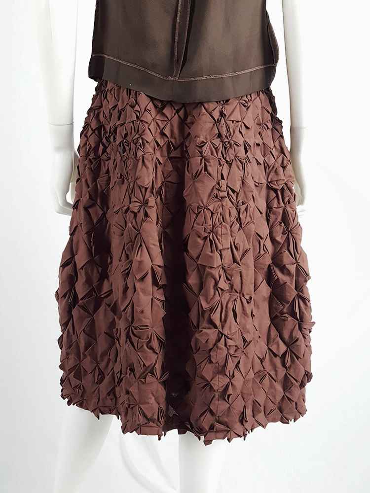 vintage Issey Miyake brown skirt with origami flowers