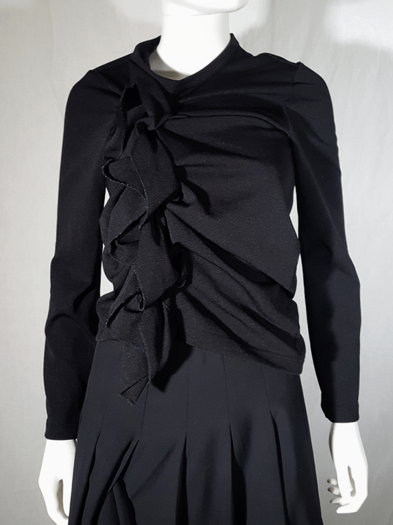 Comme des Garçons black gathered top with ruffle detail — fall 2011