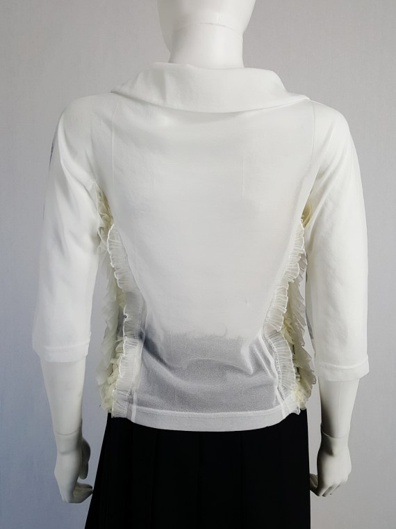 vintage Comme des Garcons white printed top with frilled side detail fall 2005 122108