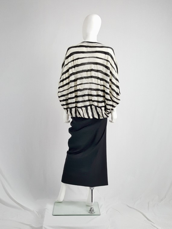 vintage Junya Watanabe beige and black striped bubble jumper AD fall 2009 134205