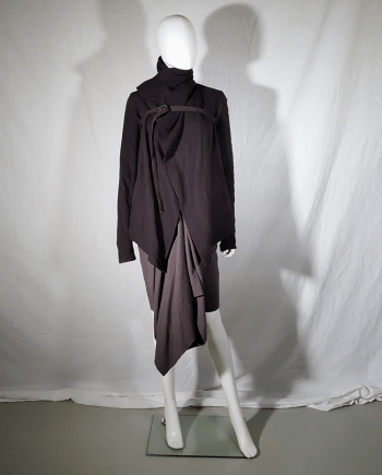Rick Owens brown cowl neck jacket with front strap