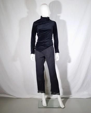 Comme des Garçons dark blue velvet twisted top — fall 2002