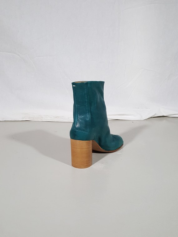 vintage Maison Martin Margiela green tabi boots with wooden block heel 181510(0)