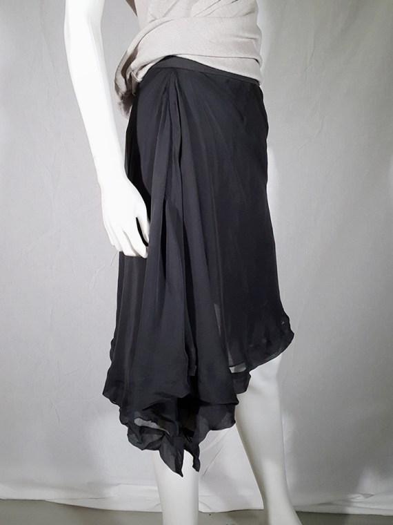 Rick Owens ANTHEM grey asymmetric draped skirt — spring 2011