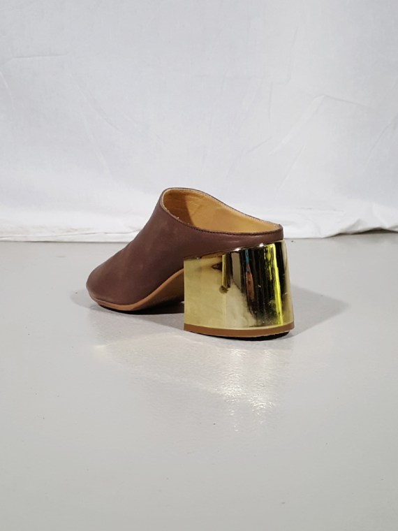vintage Maison Martin Margiela MM6 brown mules with gold block heel spring 2017 182344