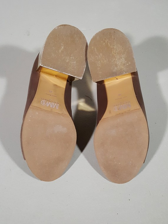 vintage Maison Martin Margiela MM6 brown mules with gold block heel spring 2017 182442(0)