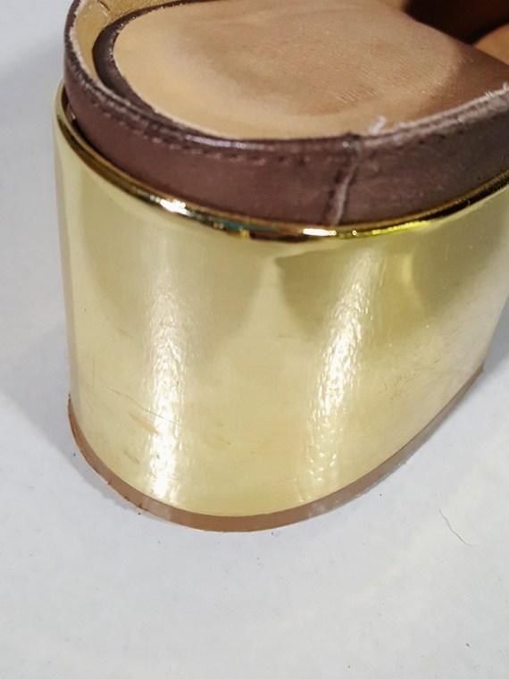 vintage Maison Martin Margiela MM6 brown mules with gold block heel spring 2017 182536