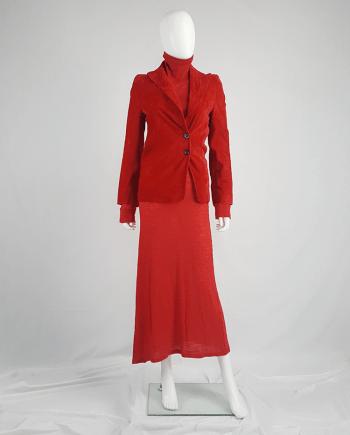 Ann Demeulemeester red velvet asymmetric blazer — fall 1996