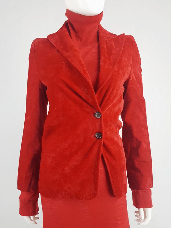 vintage Ann Demeulemeester red velvet asymmetric blazer fall 1996 608