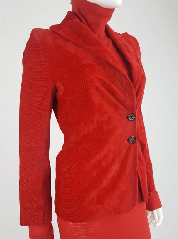 vintage Ann Demeulemeester red velvet asymmetric blazer fall 1996 631
